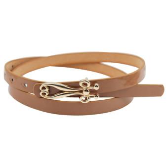 Fashion Beautiful Candy-colored Patent Leather Belt Thin Belt Camel
