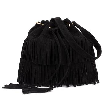 Women Tassel Vintage Shoulder Bag Handbag Black
