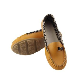 OH HOT Women Leather Leopard Casual Slip On Dolly Ballet Flat Heel Loafer Shoes Yellow - intl