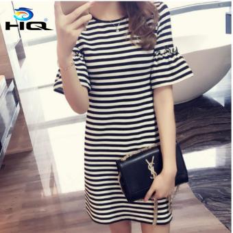 Váy Đầm Suông Sọc Ngang Thời Trang Cao Cấp HQ 3TI76