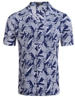 Cyber Men Turn Down Collar Short Sleeve Button Down Casual Shirt Hawaiian Shirts ( Blue ) - intl