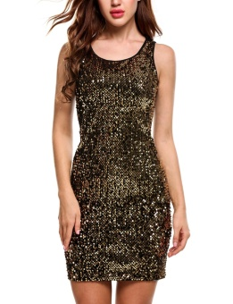 Cyber Women Sexy O-Neck Sleeveless Sequined Patchwork Slim Pullover Elastic Dress with Lining ( Gold ) - intl