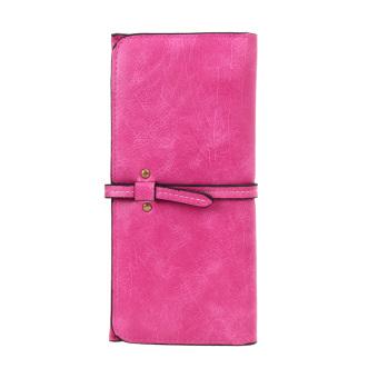 Women Long PU Card Holder Purse(Hot pink) - intl
