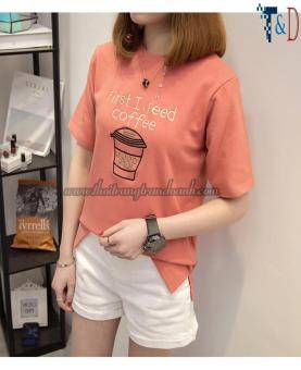 Áo Thun Nữ In Hình Coffee Cá Tính D368 ( Màu Cam )