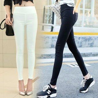 Bộ 2 quần nữ legging co giản 4 chiều phôm chuẩn 157 (Trắng Đen)