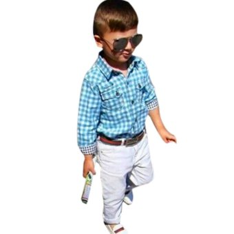 Baby Boys Long Sleeve T-shirt +Pants+Belt Set Kids Casual Clothes(2T) - intl