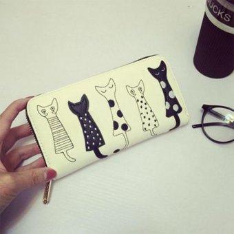 Moonar Women Cartoon Cat Pattern Long PU Leather Wallet Multilayer Zipper Purse (Yellow) - intl