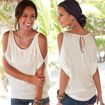Gamiss Casual Loose T-Shirt Women Off The Shoulder Design(White) - Intl--TC