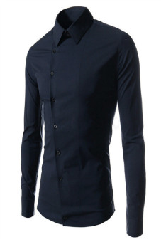 Reverieuomo CS21 Single- Breasted Shirt Dark Blue - Intl
