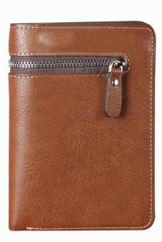 Bluelans Men Short Faux Leather Zipper Wallet Bifold Card Money Clutch Multi-slot Dark Coffee (Intl)