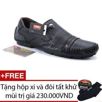 Giày lười nam da thật Da Giày Việt Nam VNLLS8AZA99-1QD (Đen) + Tặng hộp xi và đôi tất khử mùi