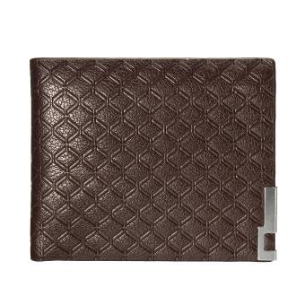 Men Leather Zip Bifold Wallet Money Clip Card Holder Pocket Purse Case Clutch Dark coffee - Intl