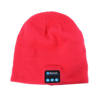 Fashion Warm Cap with Bluetooth Hands-Free Phone Music(Rose Red) - intl