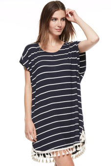 Sunweb Short Sleeve O-neck Women Striped Loose Mini Dress Casual (Black) - Intl