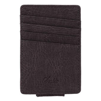 Linemart Men Business Casual Synthetic Leather Wallet Credit Card ID Holder with Magnet Money Clip ( Dark Grey ) - intl