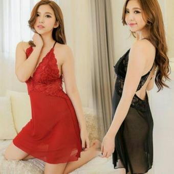 Váy Ngủ Voan PhốI Ren Hở Lưng Sexy 106