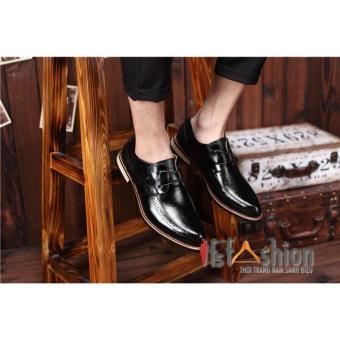 Giày Nam Công Da Màu Đen Đế Gỗ Sành Điệu Logo Wifi HQ95