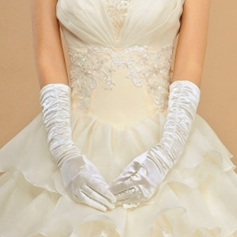 White Bridal Satin Gloves Pleated Wedding Opera Prom Dress Party Evening - intl