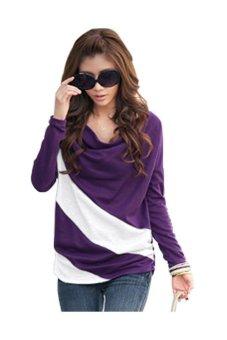 Women Long Sleeve Splicing T Blouse Purple - Intl