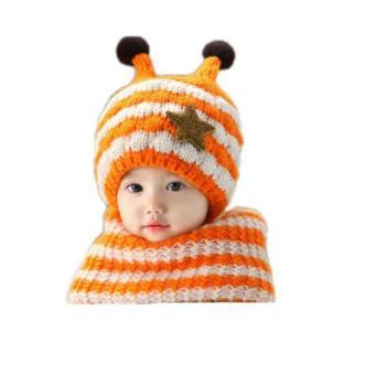 Mũ len kèm khăn cho bé lót bông tuyết màu vàng
