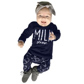 2pcs Babies Milk Letter Printed T-shirt Bottle Pattern Trousers Clothing Set - intl