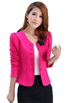Linemart Women's Suit Long Sleeve Short Coat Jacket Outerwear (Pink) - intl