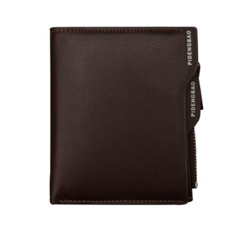niceEshop Men's Light Coffee Genuine Leather Short Bifold Wallet With Removable Cards Holder - intl