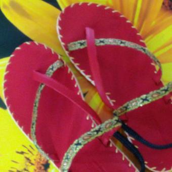 Sandal thổ cẩm nữ xỏ ngón (Đỏ) TFW8533 #41