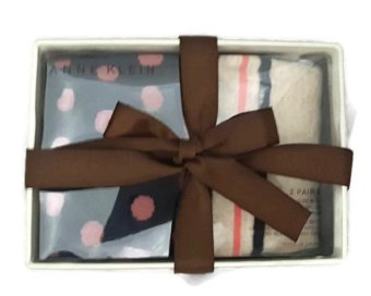 Hộp quà bộ 2 tất len nữ Anne Klein Women's Polka Dot with Stripe Gift Box 2-Pack (Mỹ)