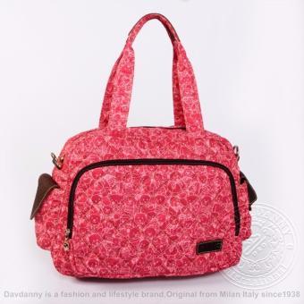 Túi xách tay nữ lớn màu hồng sọc chéo gấu Dav Danny dành cho bạn gái - DD164L3007
