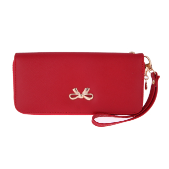 Fashion Women Leather Clutch Wallet Red - intl