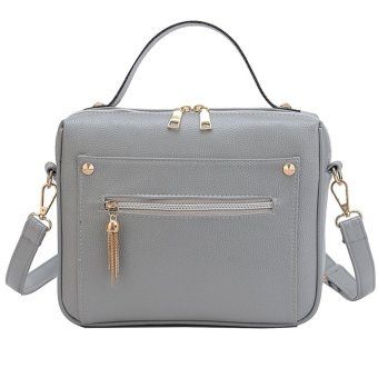 Women Retro Crossbody Bag Small Shoulder Bag Tassel Messenger Bags Tote Handbag Grey - intl