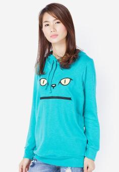 Áo khoác hoodie thêu hình mèo màu xanh ngọc Cirino