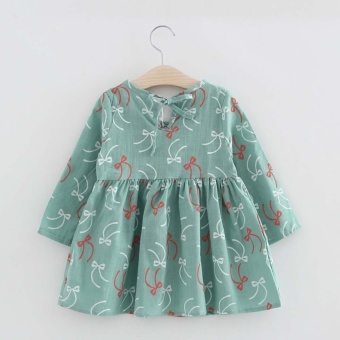 Toddler Baby Girls Kids Autumn Clothes Long Sleeve Princess Party Pageant Dress Green - intl