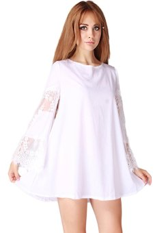 LALANG Women Round Neck A-line Casual Dress White - Intl