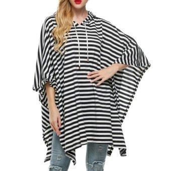 Sunweb Finejo Women Hooded Stripe Pullover Batwing Sleeve Long Sweatshirt Hoodies ( Gray ) - intl