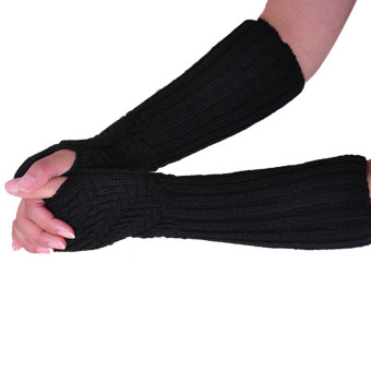 Fingerless Knitted Long Gloves Black