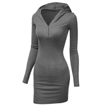 Fancyqube Tight Hip Slim Knitted Long-sleeve Dress Dark Grey - intl