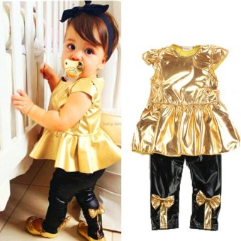 Baby Girls Kids Shirt Dress + Legging Pants Casual Clothes Sets Outfits 2Pcs - Intl
