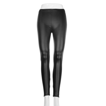 OH Fashion Style Tights Women Sexy Wet Look Shiny Faux Leather Leggings Pants - intl