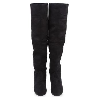 Retro Pure Color Round Toe Ladies Suede Knee Boots(Black) - intl