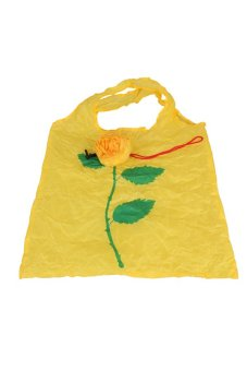 Cute 1Pc Rose Flowers Reusable Folding Shopping Bag Travel Grocery Yellow - Intl