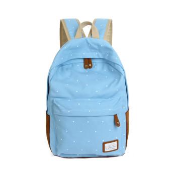 Double-Shoulder Girls Canvas Dots Schoolbag Students Backpacks Light Blue - Intl