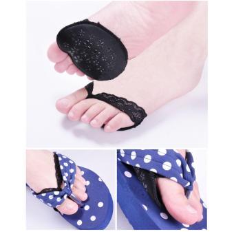 Bộ 4 Miếng đệm, lót giày bằng vải phối ren xỏ ngón Kim Phát (đen)