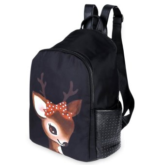 Cartoon Print Bead Rivet Nylon Tote Handbag Backpack(Deer) - intl