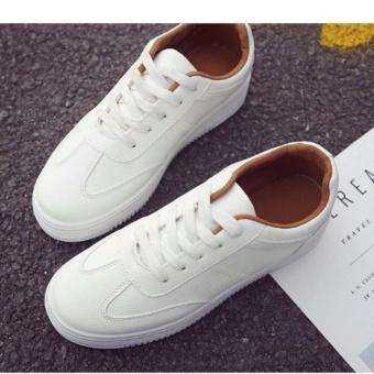 Giày thể thao nữ Hàn Quốc màu trắng nâu 37 -AL