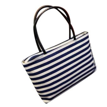 Summer Canvas Shoulder Bag Striped Beach Bags Women Casual Shopping Handbag BU - intl