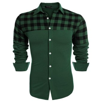 Linemart COOFANDY Men Fashion Long Sleeve Plaid Patchwork Button Down Casual Shirts ( Green ) - intl