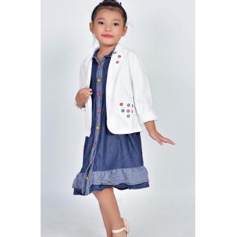 Áo khoác kaki túi tim Somy Kids màu trắng