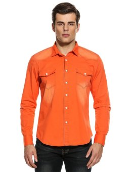 Linemart Men Slim Long Sleeve Button Down Denim Casual Shirts ( Orange ) - intl